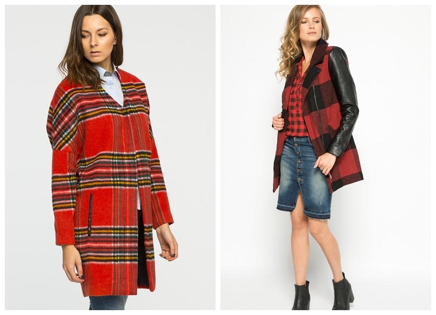 Płaszcz w kratę czerwony