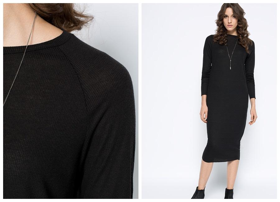 Medicine czarna sukienka maxi
