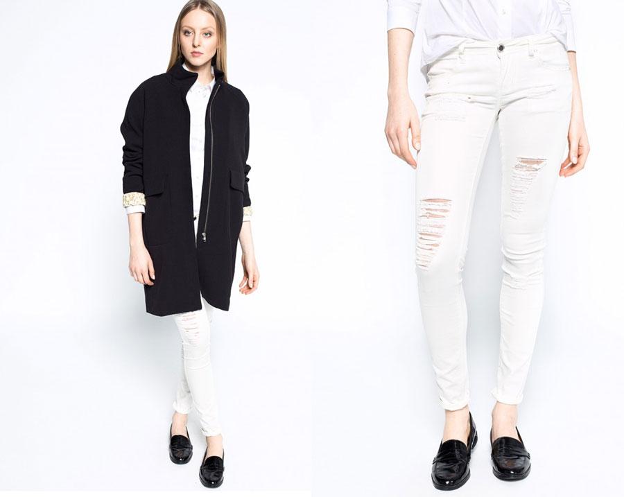 białe jeansy madonna