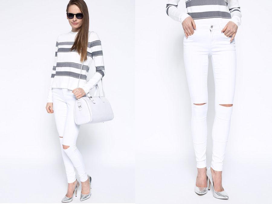 białe jeansy only