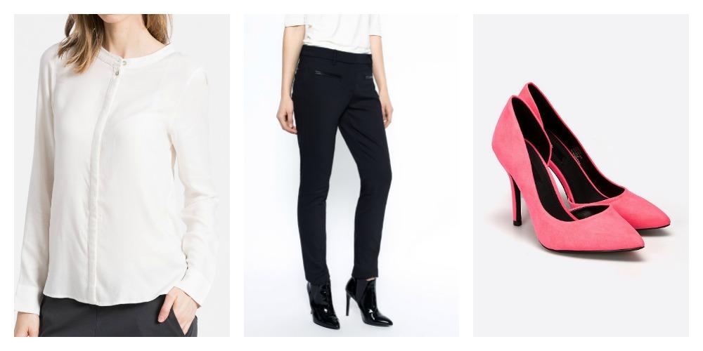 biała bluzka i czarne spodnie