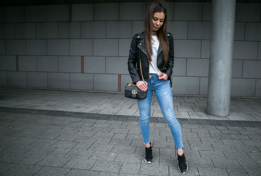 leather jacket, jeans, t-shirt