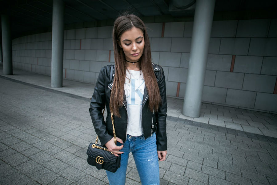 leather jacket and t-shirt