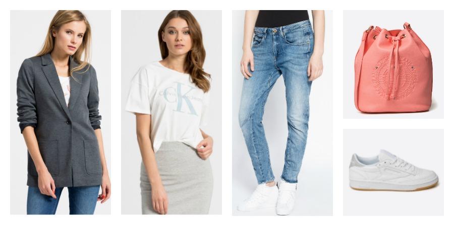 sneakers, t-shirt, jeans, bag
