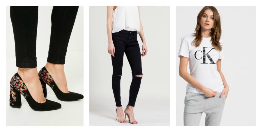 heels, jeans, t-shirt