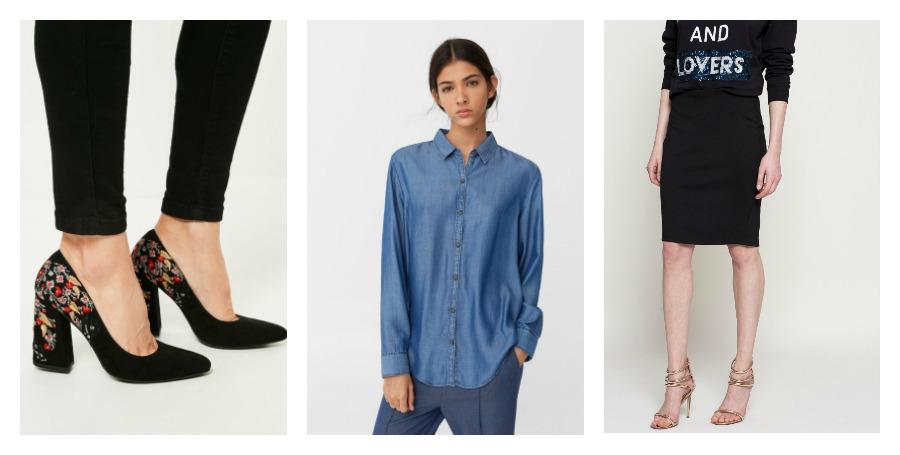 heels, denim shirt, skirt