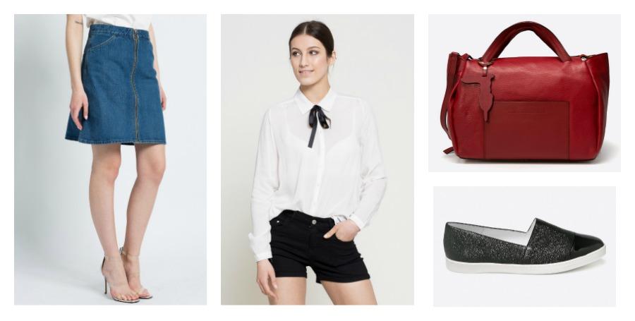 denim skirt, blouse, bag, slip-on