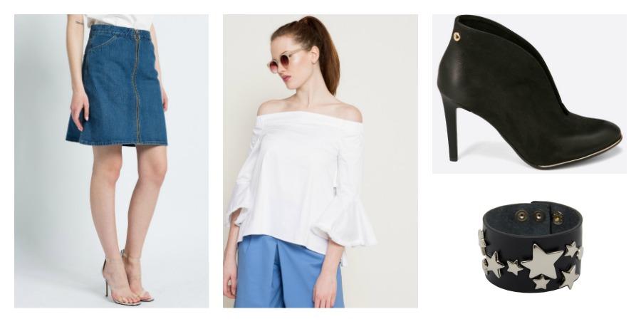denim skirt, blouse, boots, bracelet