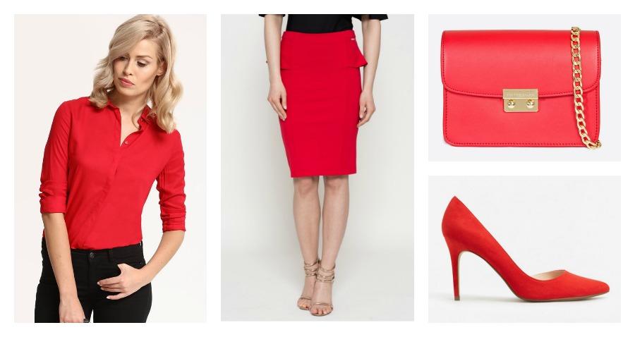 shirt, skirt, clutch, high heels