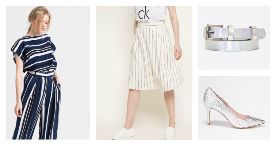 blouse, skirt, belt, pumps