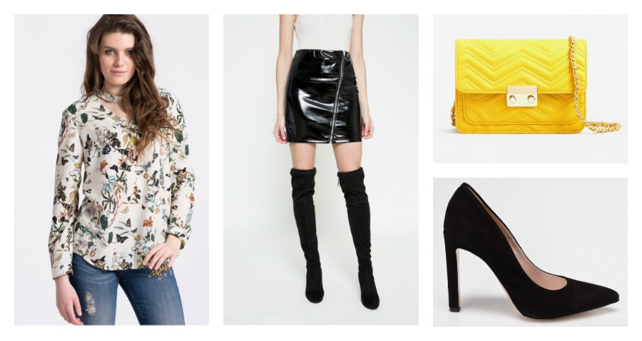 blouse, leather skirt, bag, heels