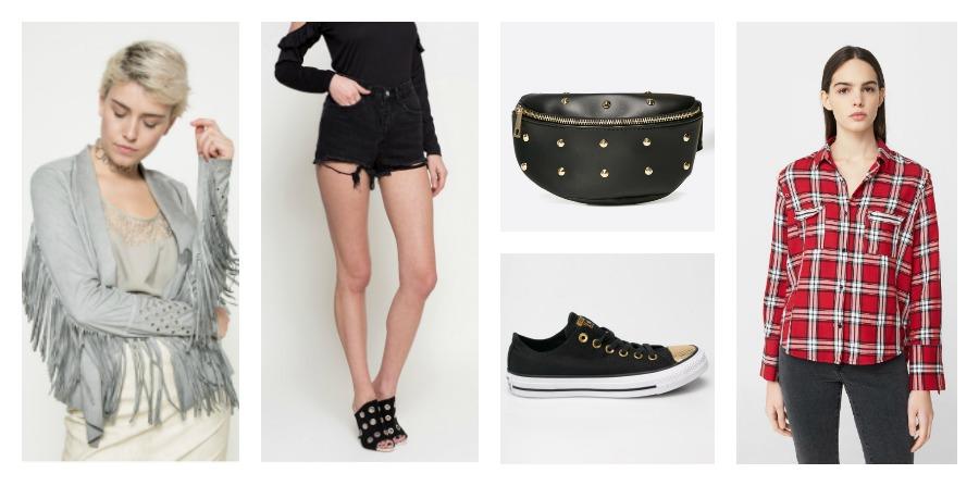 leather jacket, denim shorts, sneakers, plaid shirt