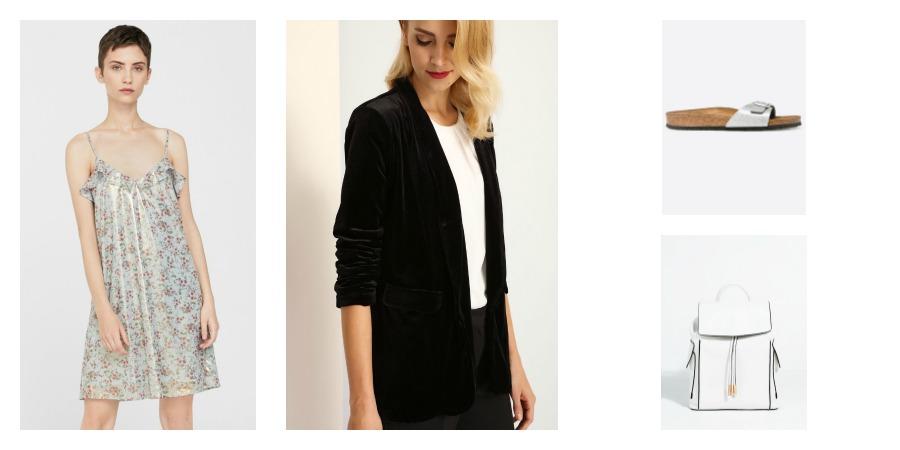 dress, blazer, birkenstocks, bakcpack