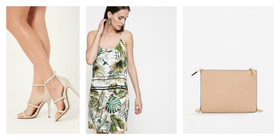 heels, slip dress, bag