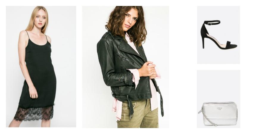 dress, leather jacket, sandals, bag