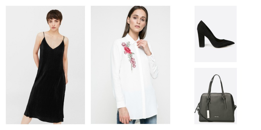 slip dress, white shirt, pumps, bag