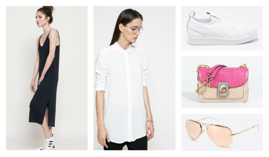 dress, shirt, sneakers, bag, sunglasses