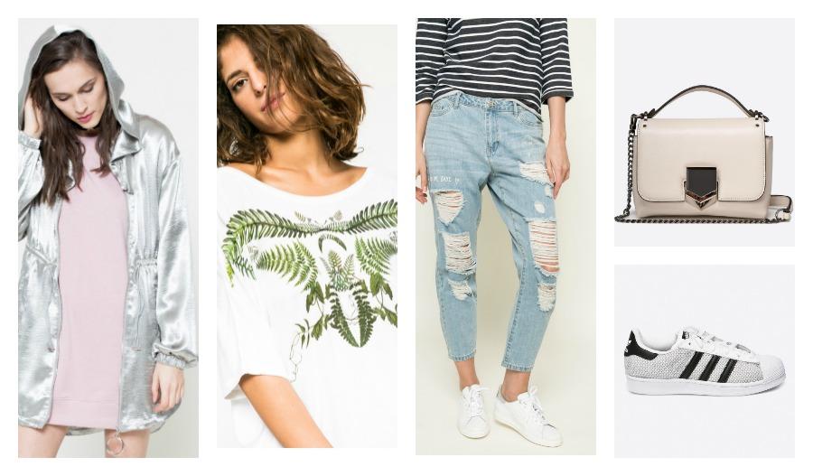 jacket, t-shirt, jeans, bag, sneakers