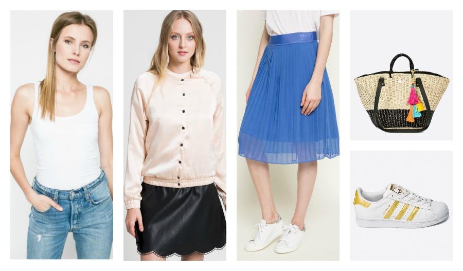 top, bomber jacket, skirt, bag, sneakers