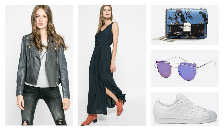 leather jacket, maxi dress, bag, sunglasses, sneakers