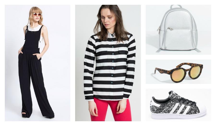 kombinezon, koszula, plecak, okulary, sneakersy