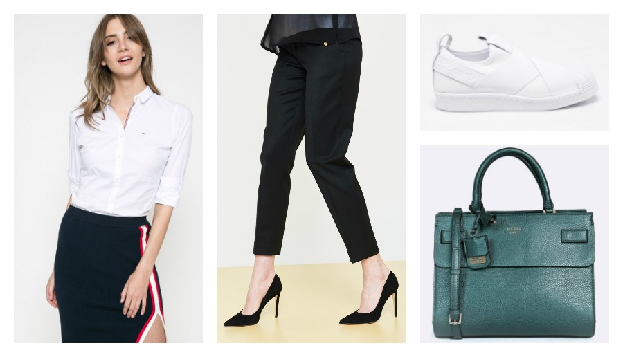 shirt, trousers, sneakers, bag