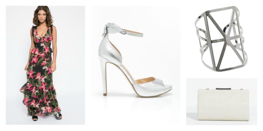 dress, sandals, bracelet, bag