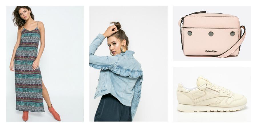 maxi dress, denim jacket, bag, sneakers