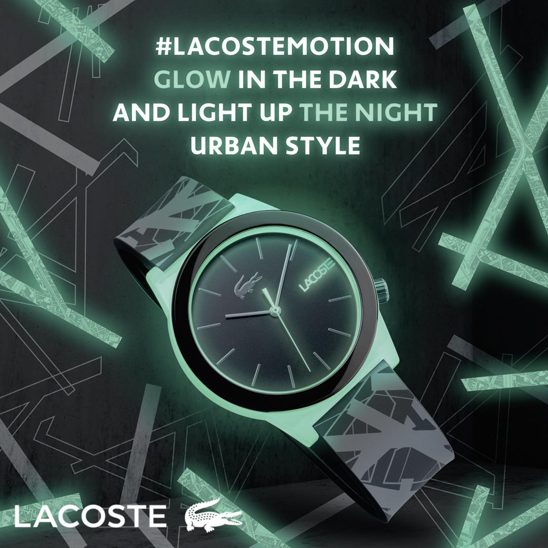 5b3d3d628 #Lacostemotion 2010932, 2010933, 2010937 to trzy modele fluorescencyjne.  Efekt luminescencji zastosowano zarówno na kopercie jaki i na zapięciu.